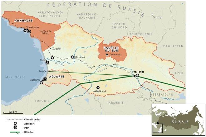 Carte de la Géorgie (source : lemonde.fr)